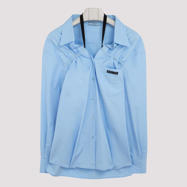 Blue cotton shirt with straps