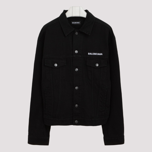 Black denim jacket with logo