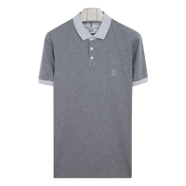 Bicolor cotton polo T-shirt