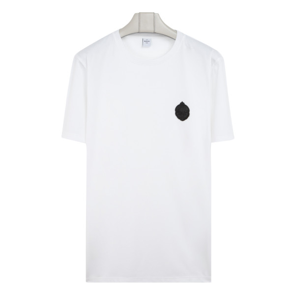 White T-shirt with leather crest