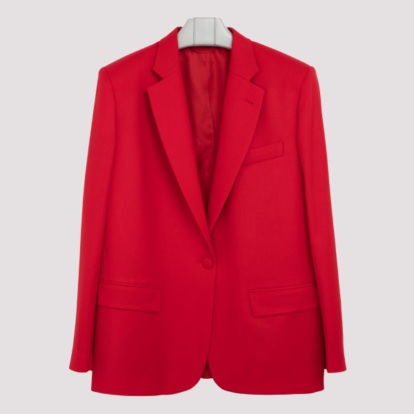 Red stretch wool blazer
