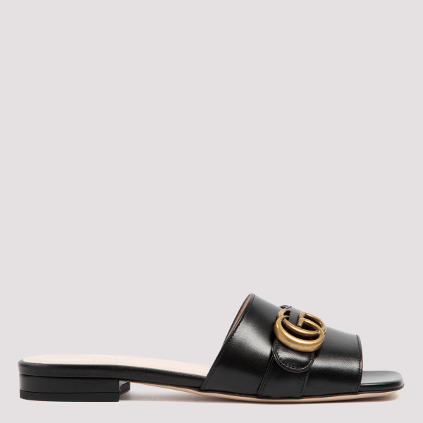 Black leather slide sandal...