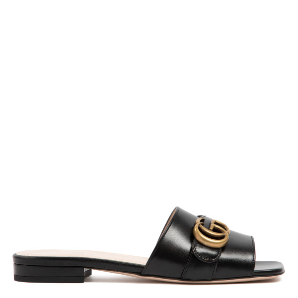 Black leather slide sandal with Horsebit