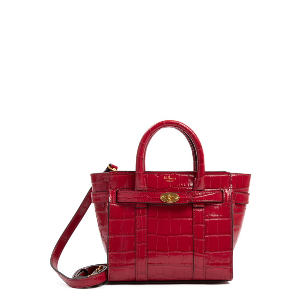Bayswater micro croc-embossed leather tote