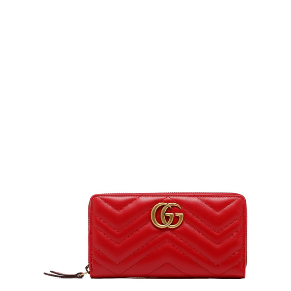 Red GG Marmont zip around wallet