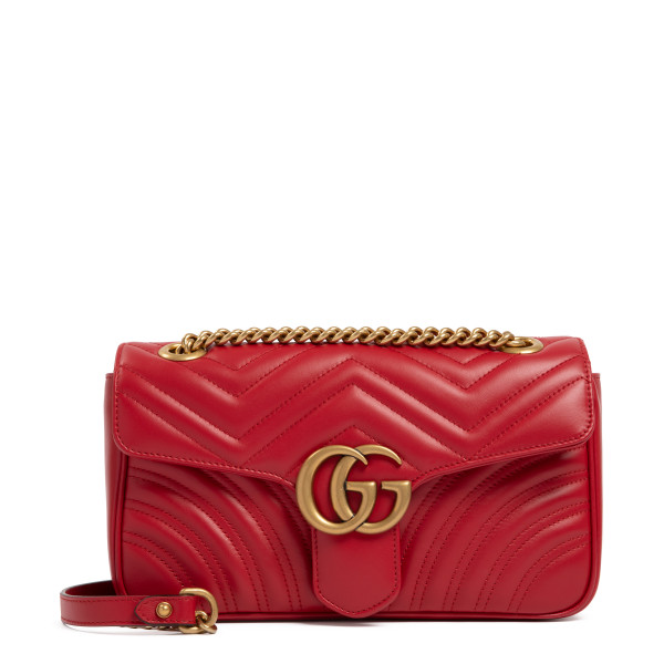 GG Marmont red matelassé small shoulder bag