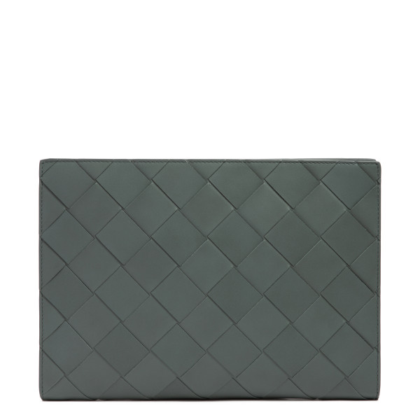 Gray intrecciato leather document case
