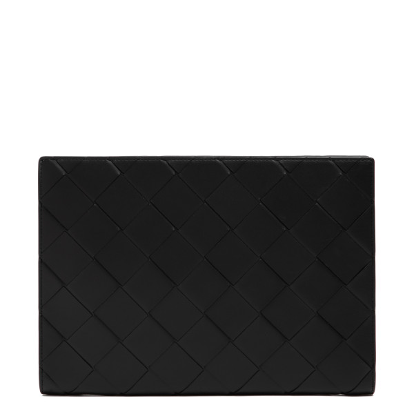 Black intrecciato leather document case