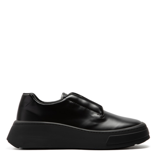 Black brushed leather lace-up shoes