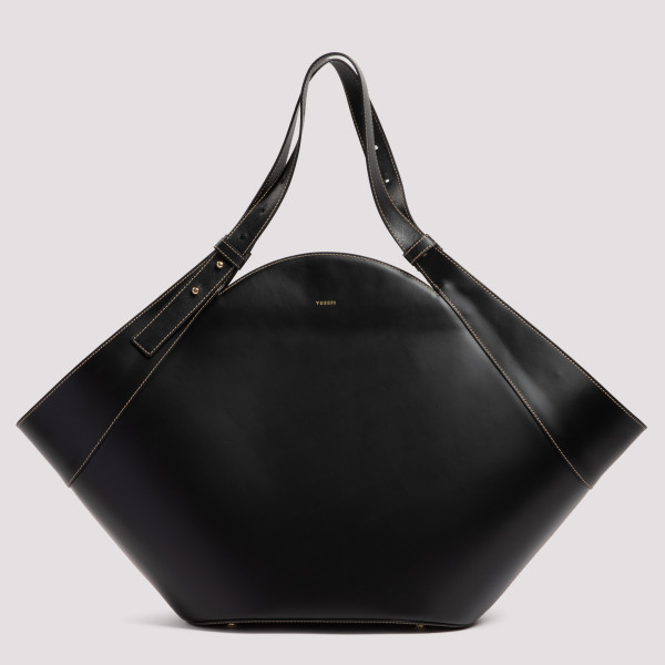 Basket black leather bag