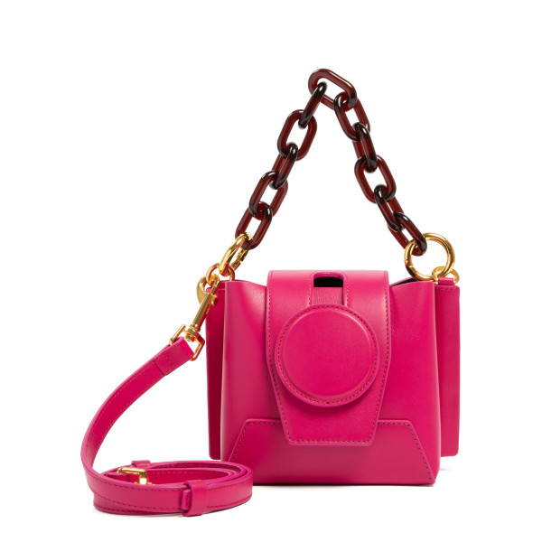 Daria fuchsia leather bucket bag