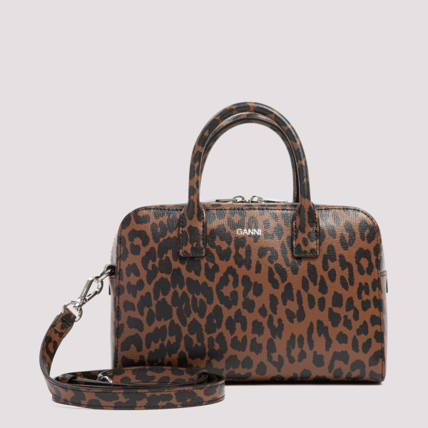 Leopard print leather handbag