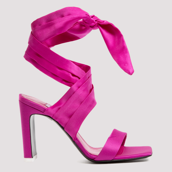 Fuchsia ankle-tie sandals