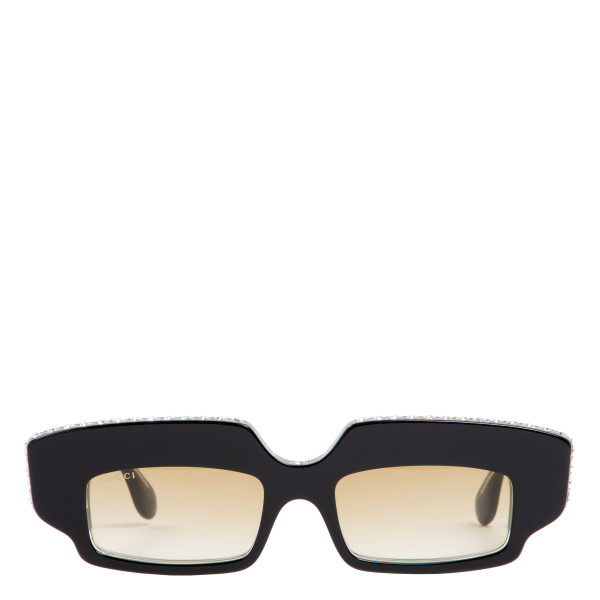 Rectangular sunglasses with crystals