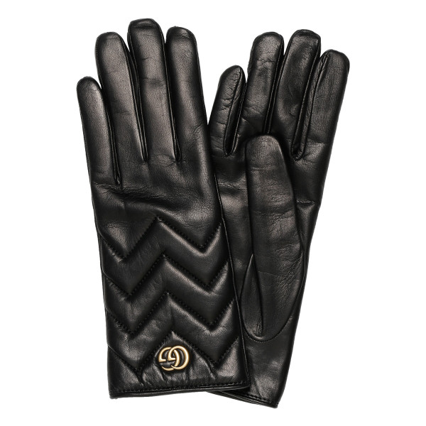 GG Marmont chevron leather gloves