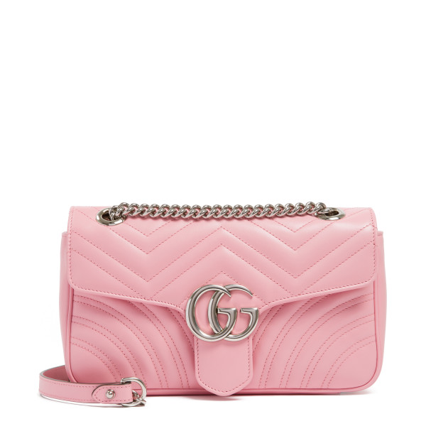Pink GG Marmont matelassé small shoulder bag