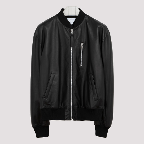 Black leather blouson jacket