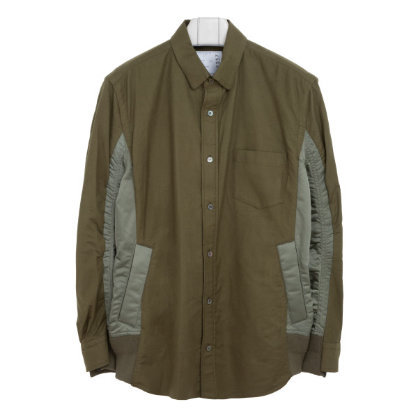 Nylon and twill green shirt