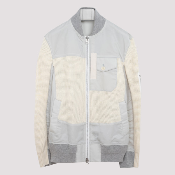 Off-white nylon and twill blouson jacket