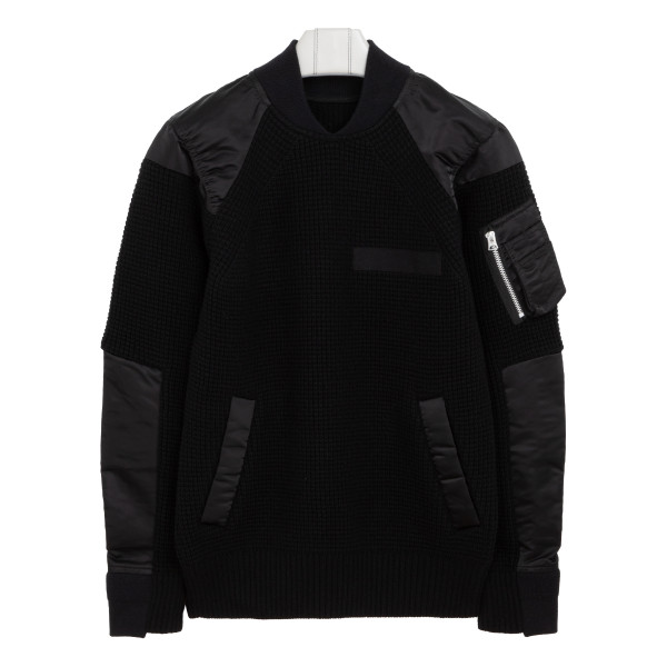 Black nylon and knit twill sweater