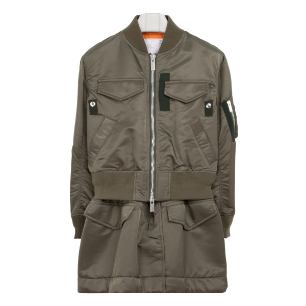 Army green nylon bomber jacket