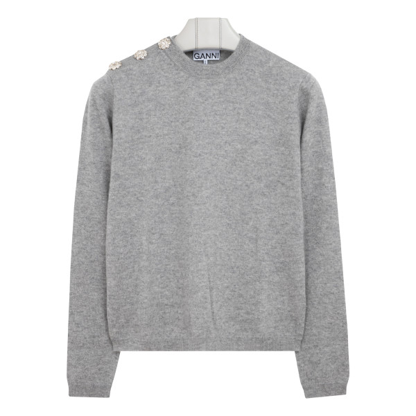 Embellished gray cashmere sweater