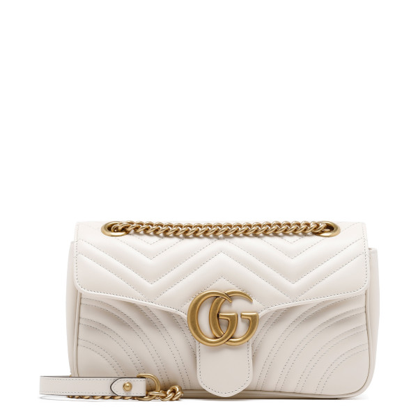 White GG Marmont small matelassé shoulder bag
