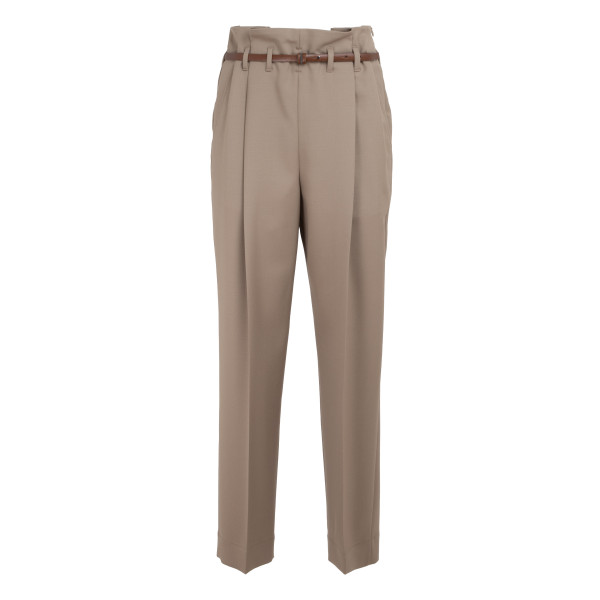 Beige belted cropped trousers