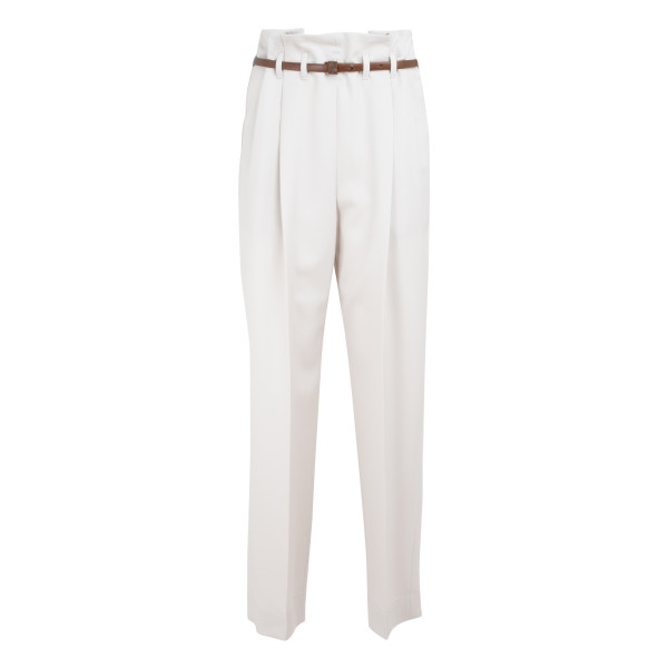 White belted cropped trousers