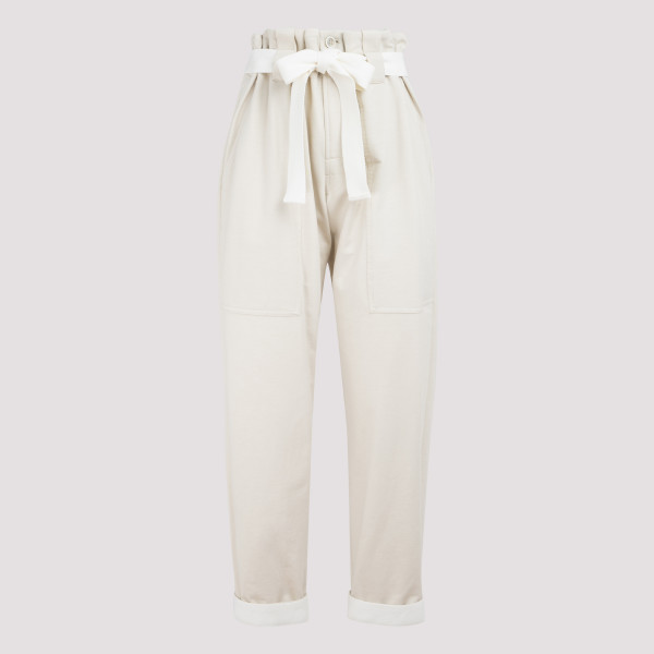 Beige cotton belted pants