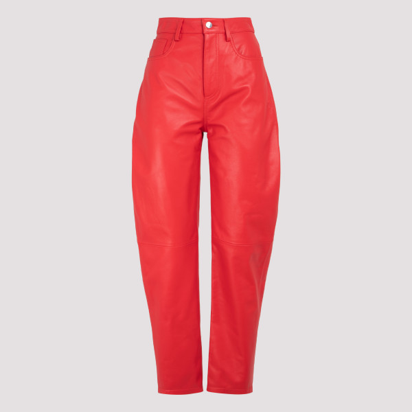 Red nappa leather pants
