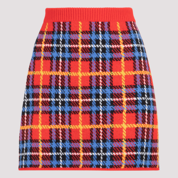 Red tartan wool skirt