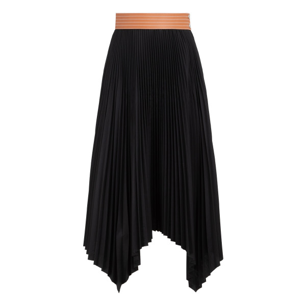 Black pleated skirt with leather belt