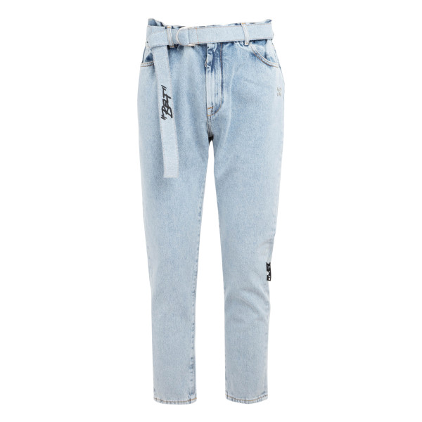 Bleached-effect slim-fit jeans