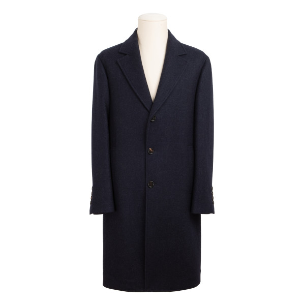 Navy wool single breasted coat