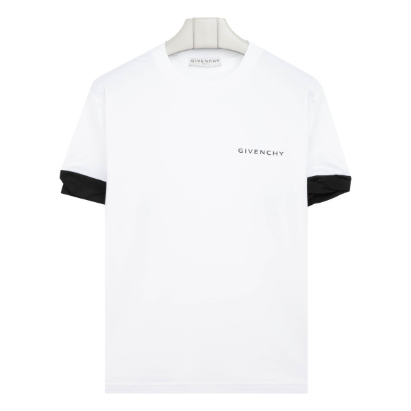White T-shirt with twisted cuffs