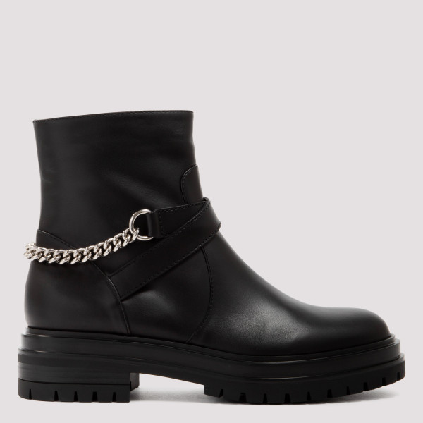Black leather rider booties