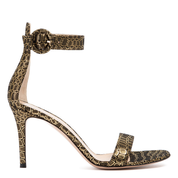 Portofino black and gold sandals