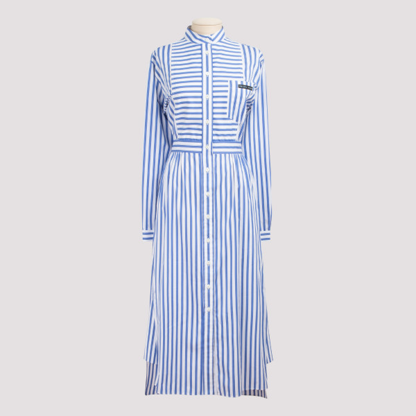 Striped cotton-poplin midi...