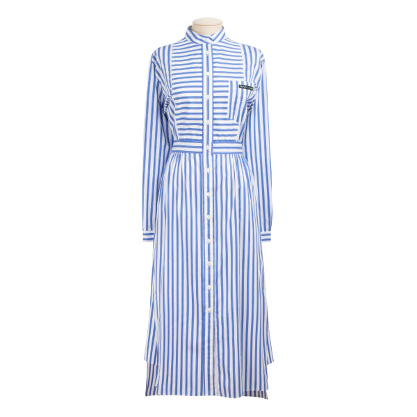 Striped cotton-poplin midi dress