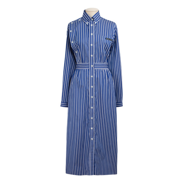 Blue cotton striped shirt dress