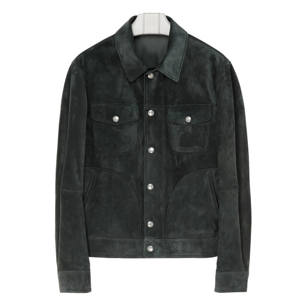 Green suede zipped shirt jacket
