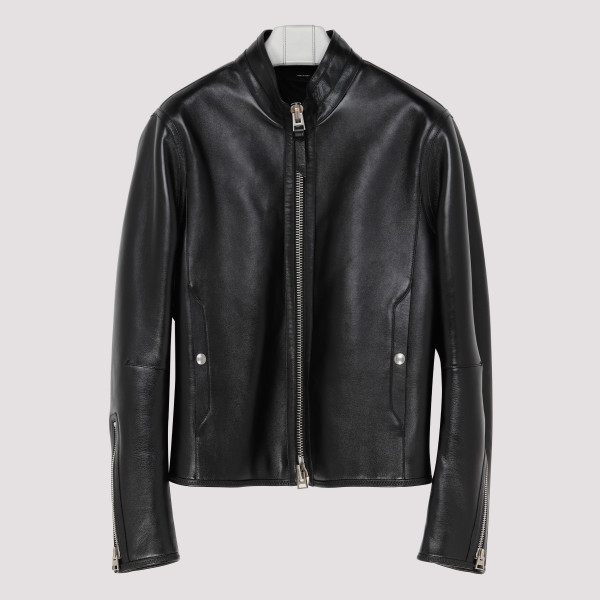 Black zip-up leather jacket