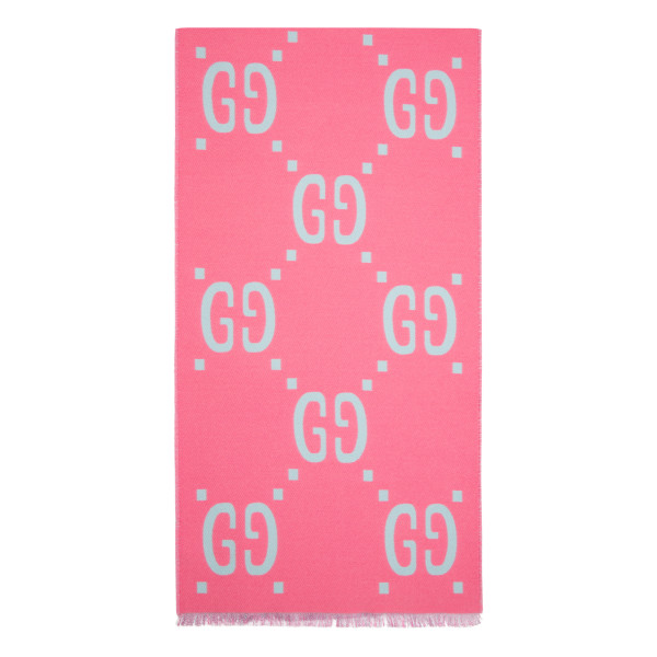 Pink and blue GG jacquard wool silk scarf