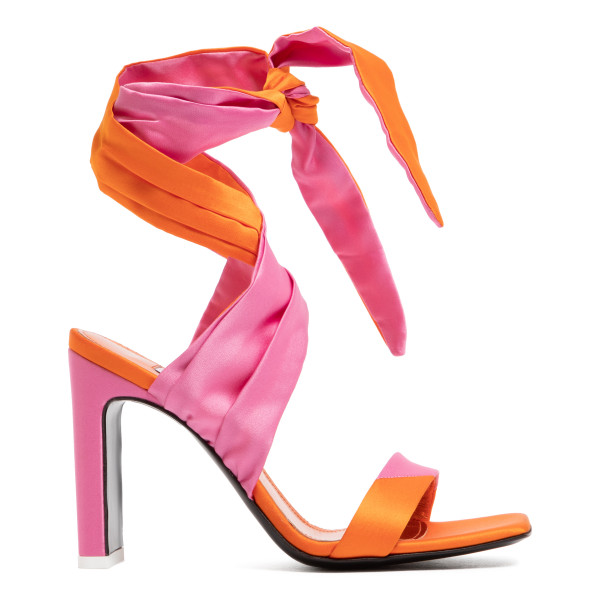 Fuchsia and orange ankle-tie sandals