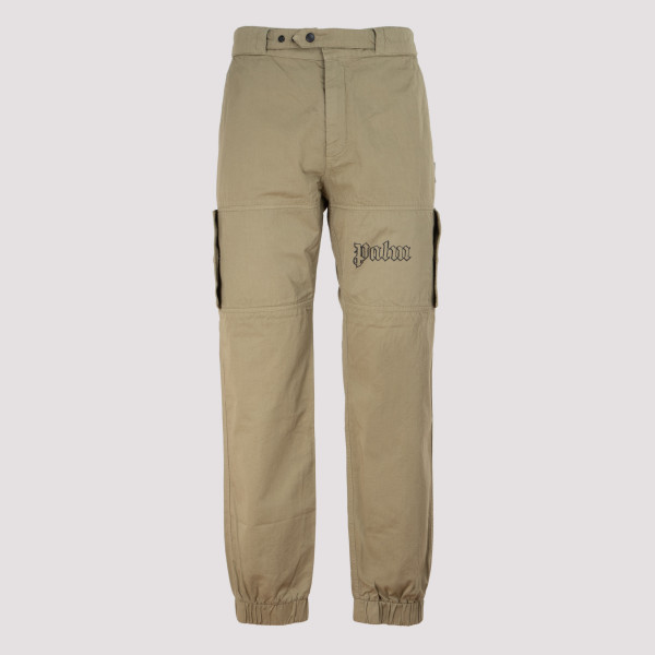 Khaki cargo pants with logo