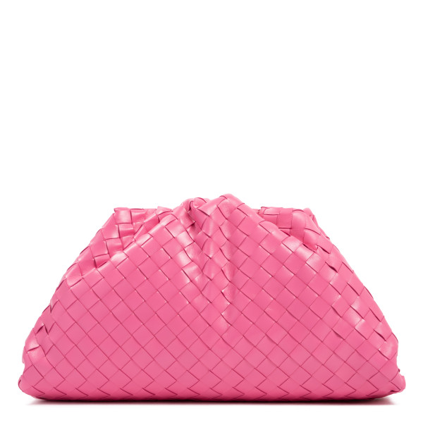 The pouch in pink intrecciato leather