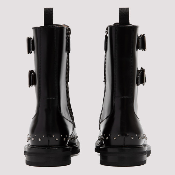 Stefy Met black leather monk boots