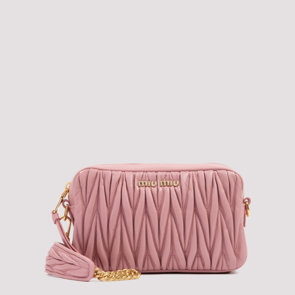 Pink matelassé camera bag