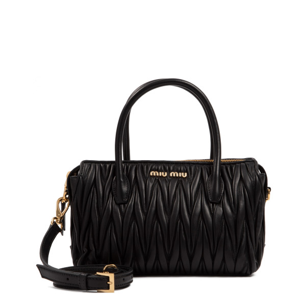 Black matelassé small handbag